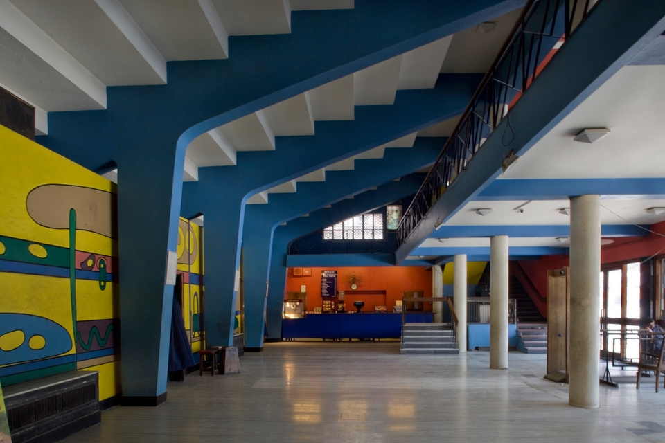 Lobby of Shiela Theatre with a mural by Luc Durand, photographed in 2017-'18