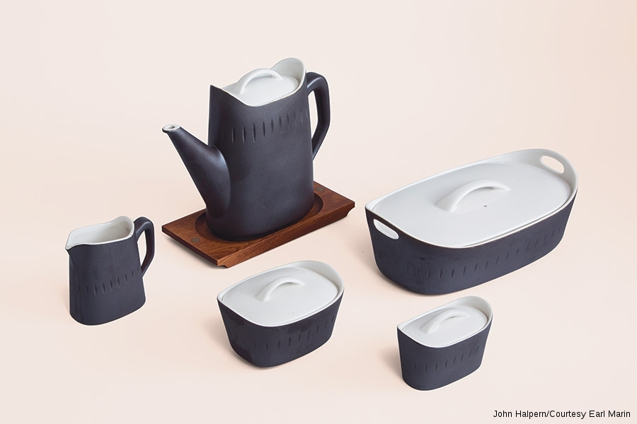 """Ernest Sohn, made by Hall China Company for Ernest Sohn Creations, """"Esquire"""" coffee pot set and casserole dishes, 1963."""