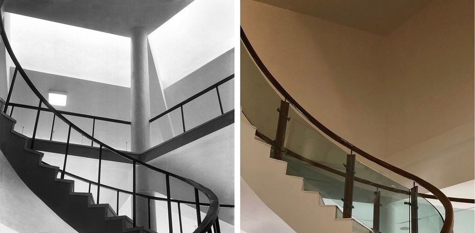 "Rabindra Bhavan stair, 1961-2019, after Ashoke Vajpayee and Sudhakar Sharma ""upgraded"" the building - what we now call ""World Class"""