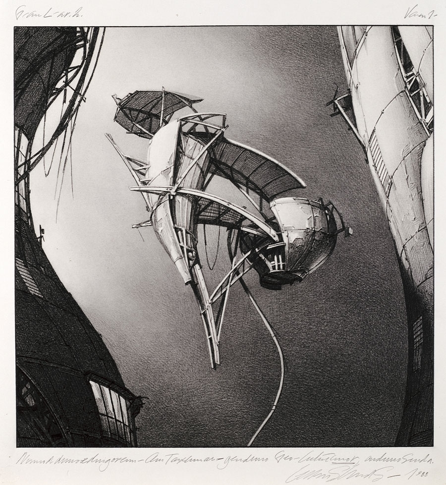 Lebbeus Woods, Photon Kite, from the series Centricity, 1988, Graphite on paper, 24 in. x 22 inches