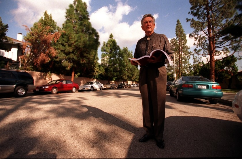 Dion Neutra, son of Richard Neutra, visits a Northridge street in 1999. One of his father's homes once stood nearby