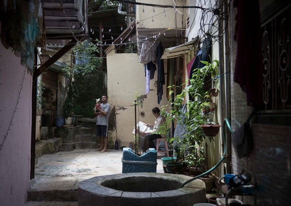 A courtyard in Mumbai's Dharavi neighborhood.