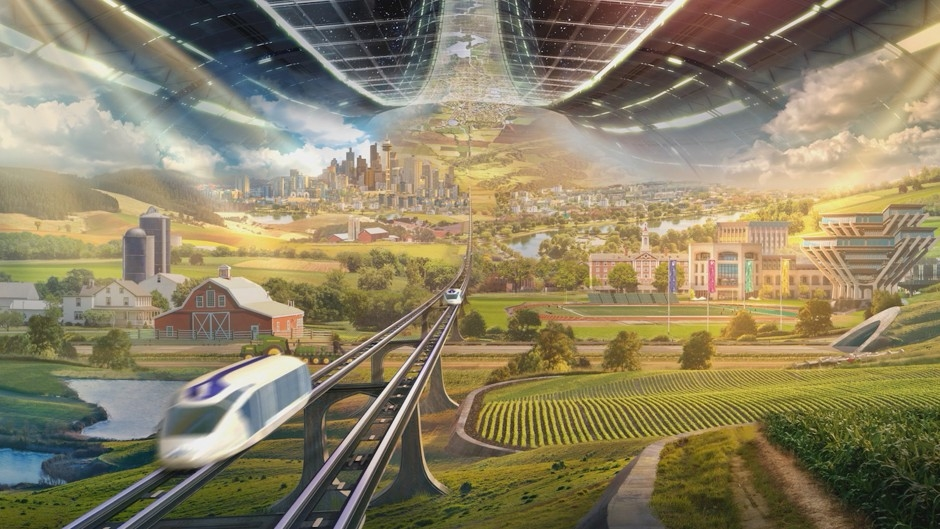 An artist's rendering of a space habitat that Jeff Bezos presented onstage for Blue Origin. The Geisel Library at the University of California, San Diego, can be seen at right, and a city that resembles Seattle appears in the background