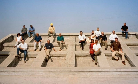 Assembly of some of India's best architects, young and established, on the roof terrace of Le Corbusier's Mill Owners' Association Building in Ahmedabad.