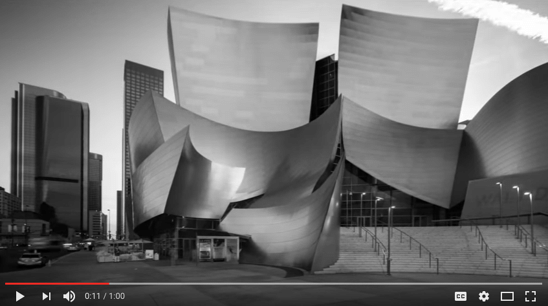 Still from the NRA ad show, the Walt Disney Concert Hall