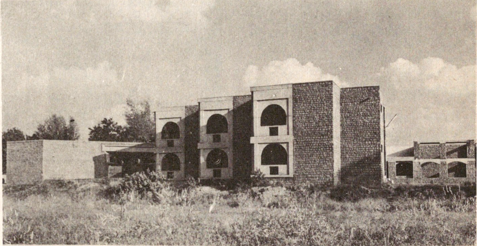 Field side elevations showing porches to the dormitory rooms