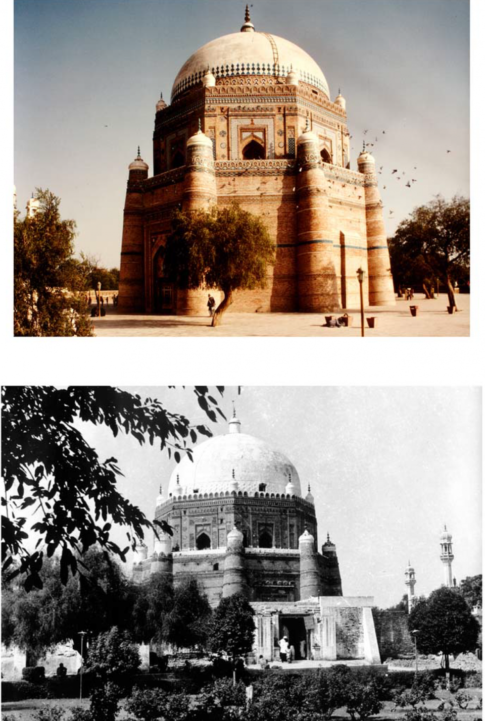 General view from the west, mausoleum before conservation (1971) with round (18th century) gateway