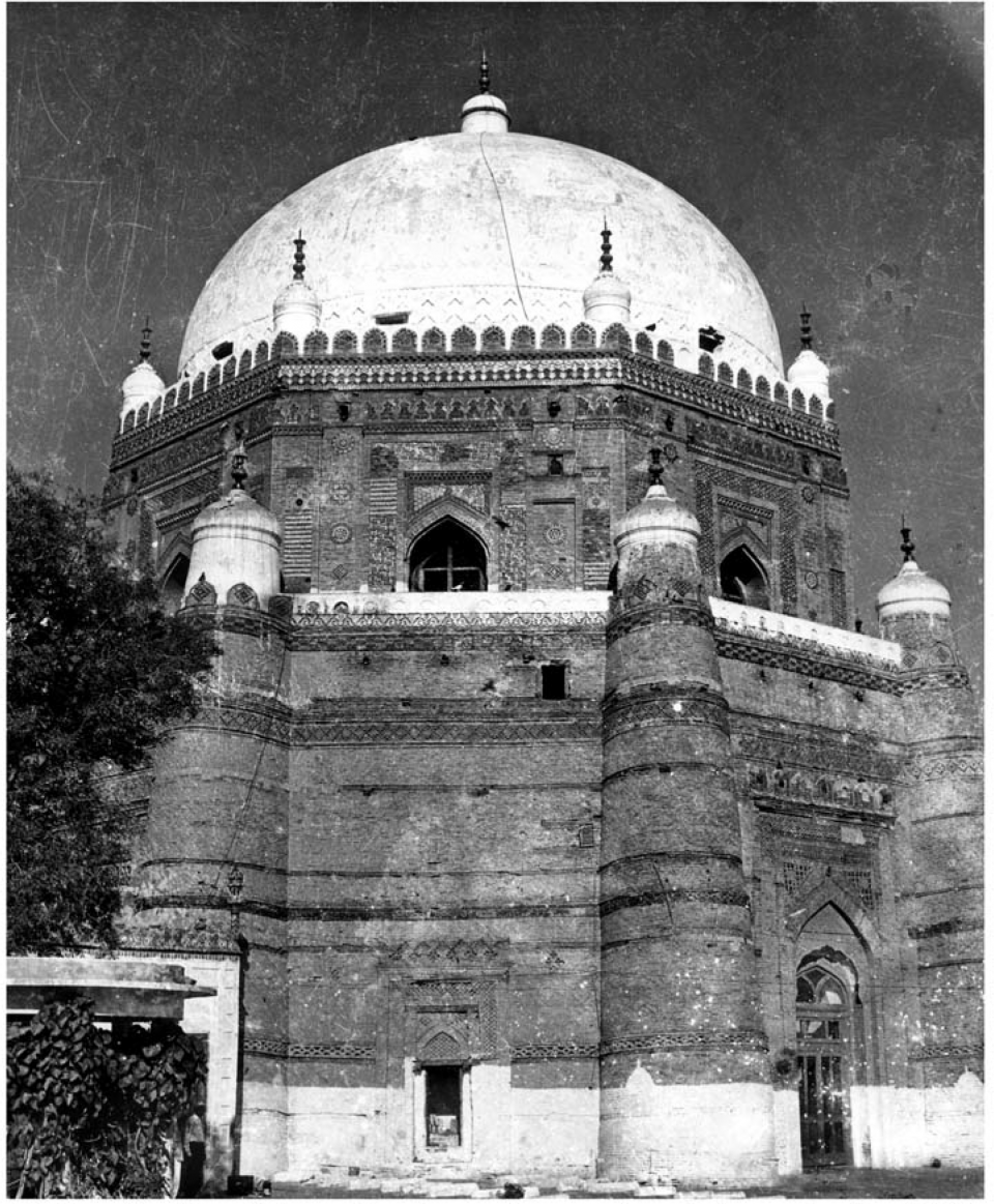 Eastern elevation with two main entrances to mausoleum before conservation, 1971