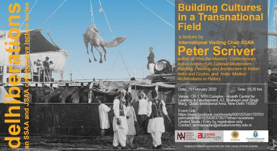 Poster, Building Cultures in a Transnational Field; a lecture by Peter Scriver at New Delhi, 29th February 2020
