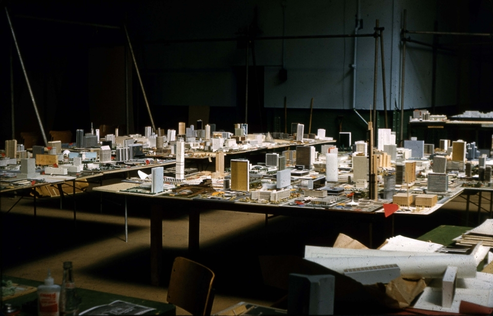 Architectural models on display at the Horticultural Building, Exhibition Place, for judging in the City Hall and Square Competition, Toronto, 1958.