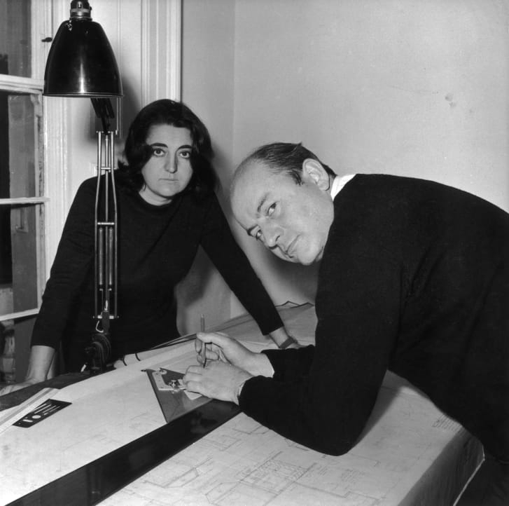 Architects Alison and Peter Smithson at work in 1961