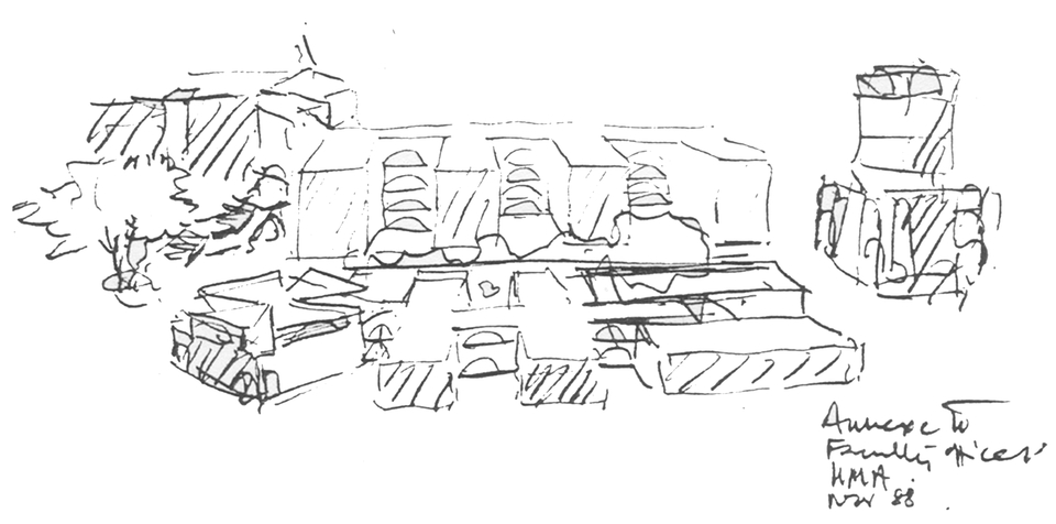 """""""Annexe to Faculty Offices"""", November '88, sketch showing Ravi Mathai Centre, Indian Institute of Management - Ahmedabad"""