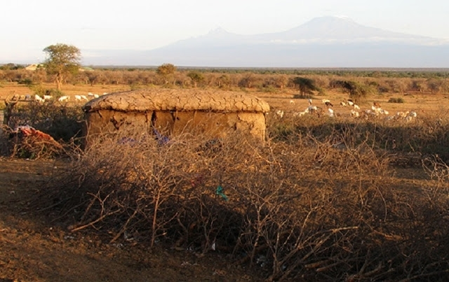 Temporary Maasai homesteads, such as this one from southern Kenya, have relatively little  long-term environmental impact