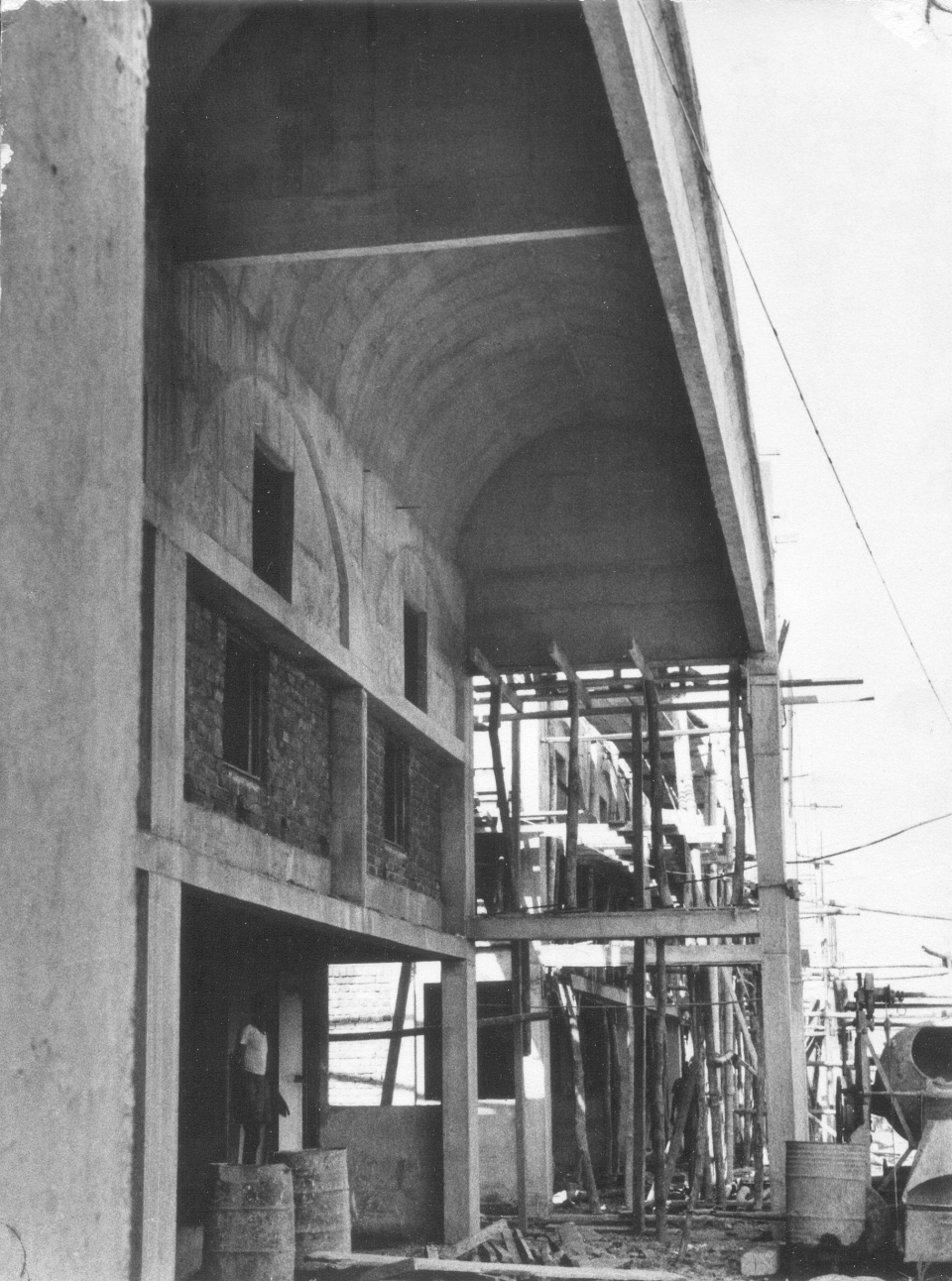 Exterior street and trading cells, MAFCO Wholesale Market under construction, 1976