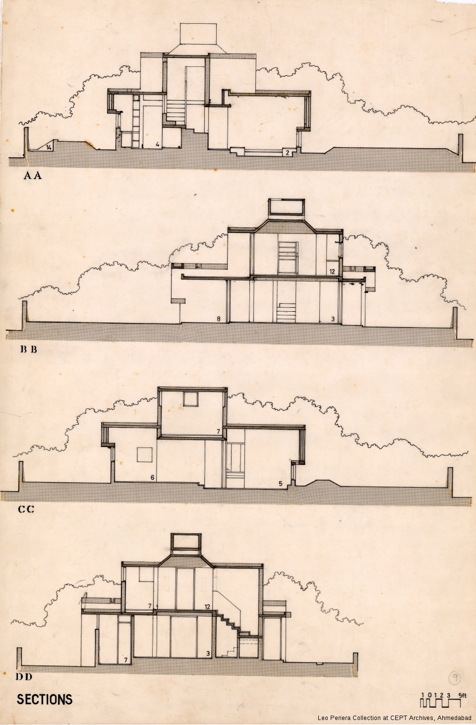 Sections, Leo Pereria, Architect's Own House