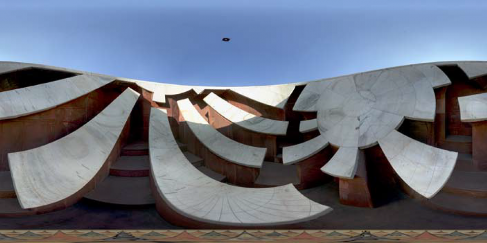 """Unwrapped"" spherical panorama from within the Jai Prakash at the Jaipur observatory. The sighting guide is visible against the sky."