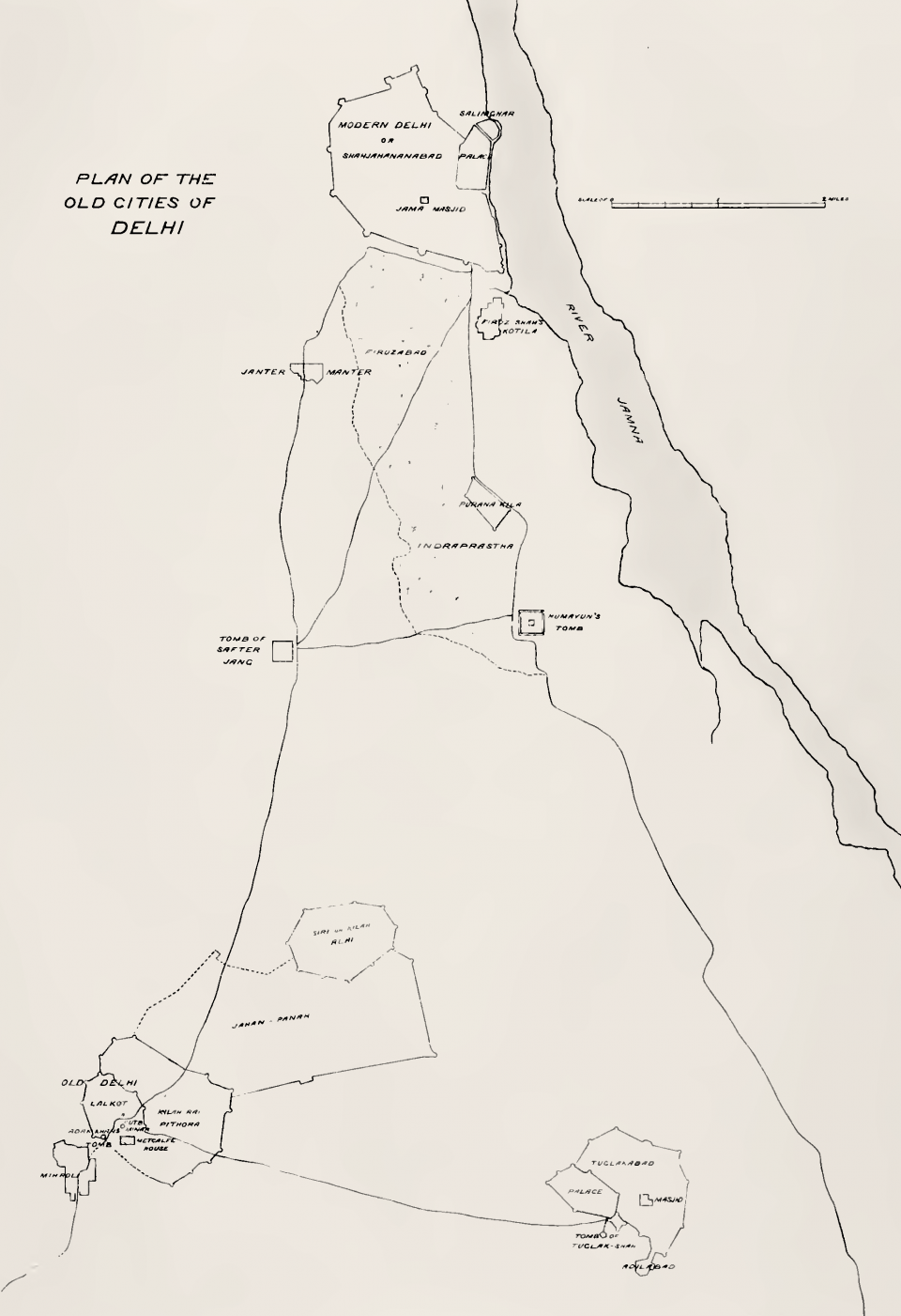Plan No. 1: Plan of the old cities of Delhi