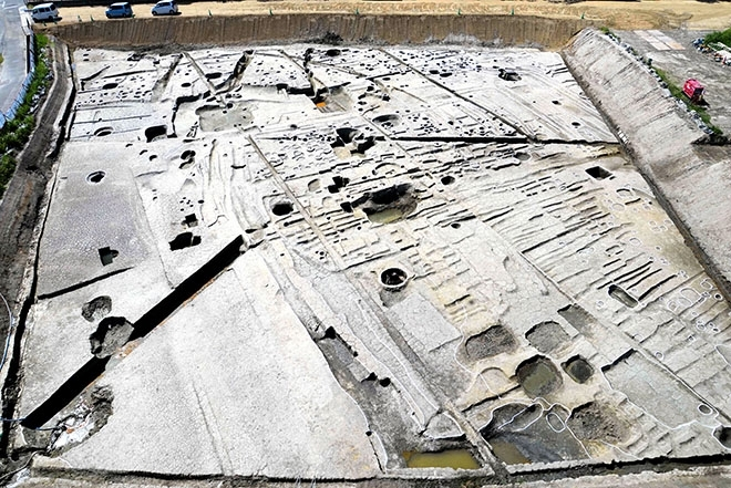 The Higashi-Yuge archaeological site in Yao, Osaka Prefecture, where the remains of pillars and trench digs dating to the eighth century have been discovered