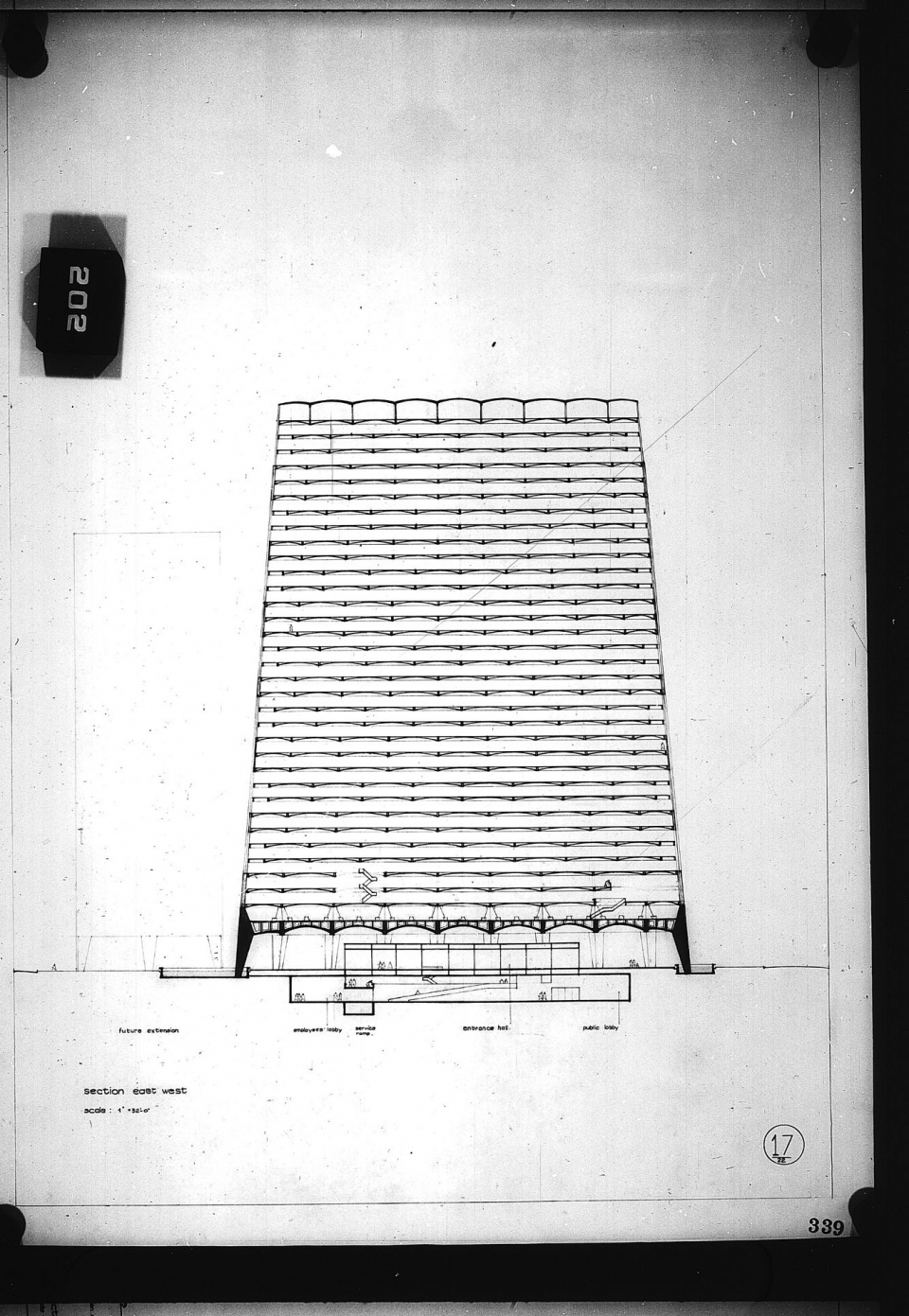 Architectural drawing, Competition entry 339, City Hall Square Competition, Toronto, 1958, by Balkrishna V. Doshi of India. East-west section of office tower.