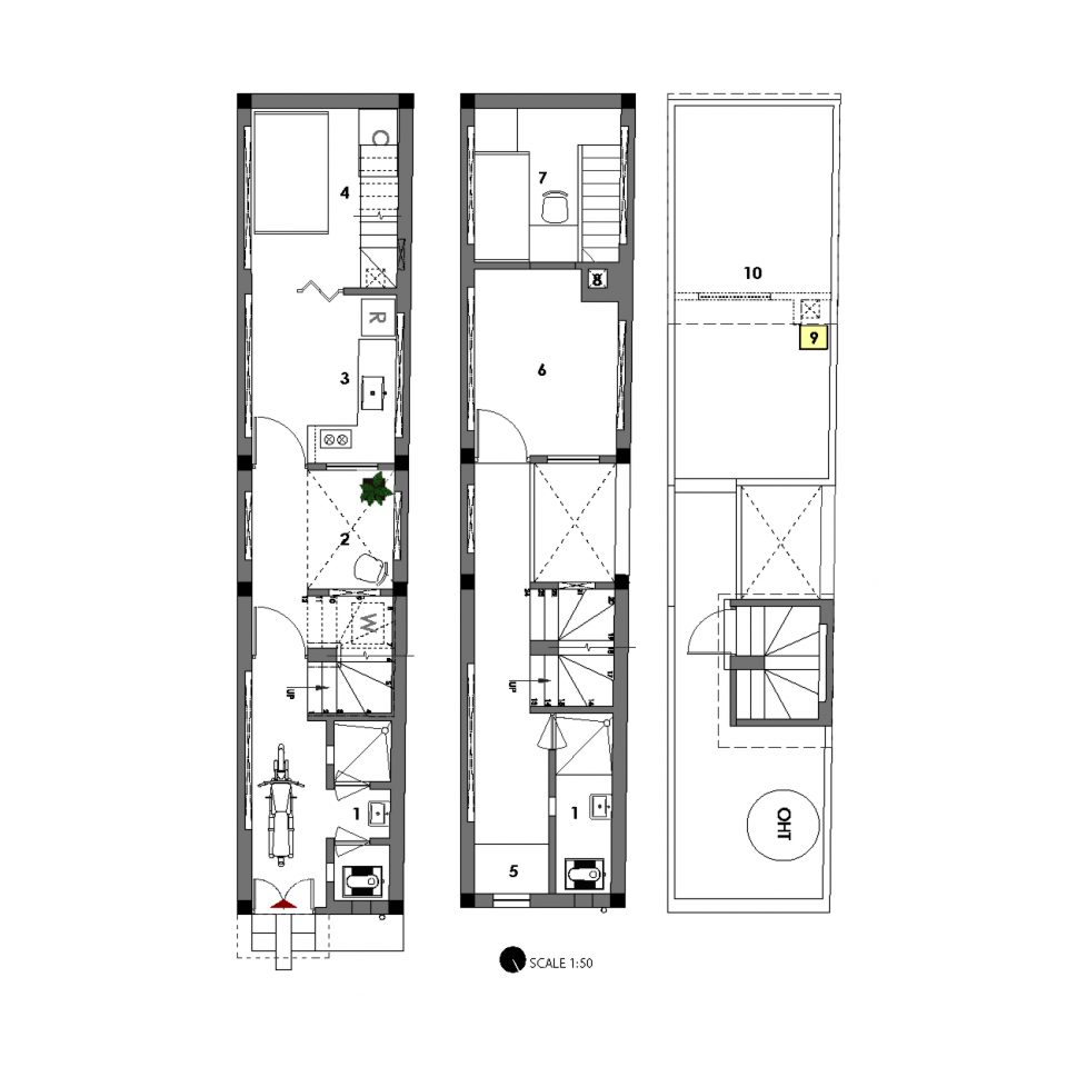 Ground floor (left), first floor and terrace (right) plans