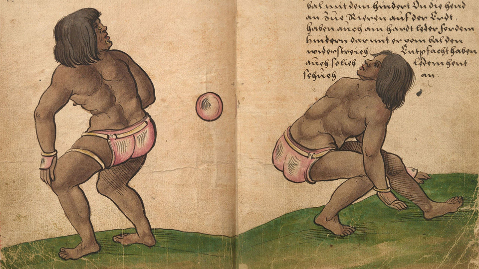 Athletes hit a rubber ball with their hips in a version of Mesoamerica's famous ball game, shown here in a colonial illustration