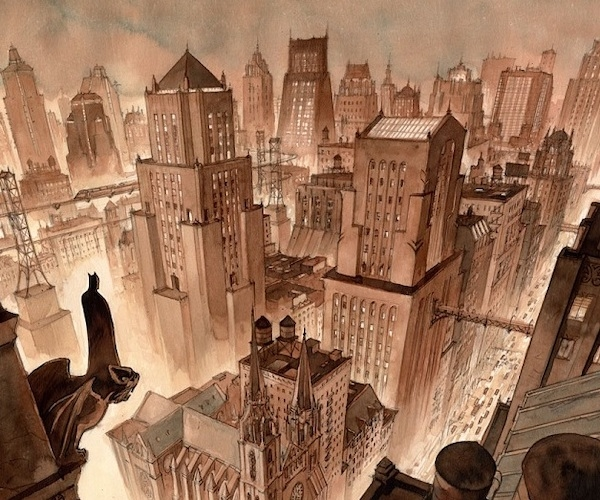 An overhead view of Gotham City by Enrico Marini.