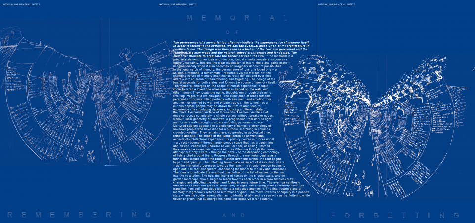 REMEMBERING AND FORGETTING: Competition Entry for the National War Memorial - Stage 1 by Gautam Bhatia In Global Design Competition for National War Memorial and Museum. New Delhi, 2016.