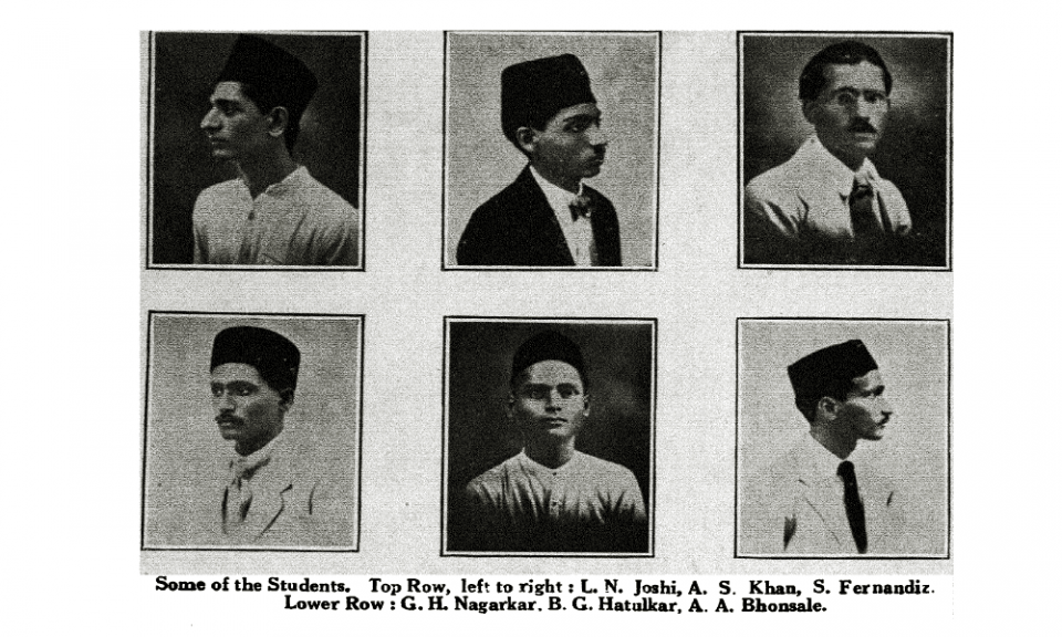 Some of the Students - Top Row, left to right: L.N. Joshi, A.S. Khan, S. Fernandiz  Lower Row: G.H. Nagarkar, B.G. Hatalkar, A.A. Bhonsale