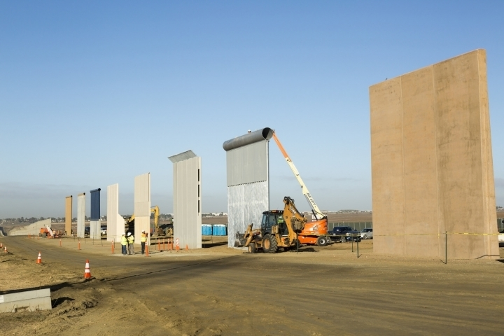 Ground views of different Border Wall Prototypes as they take shape during the Wall Prototype Construction Project near the Otay Mesa Port of Entry