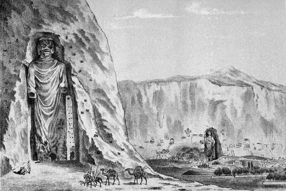 Drawing of the Buddhas of Bamiyan by Alexander Burnes, as he saw them during his visit in Bamiyan in 1832