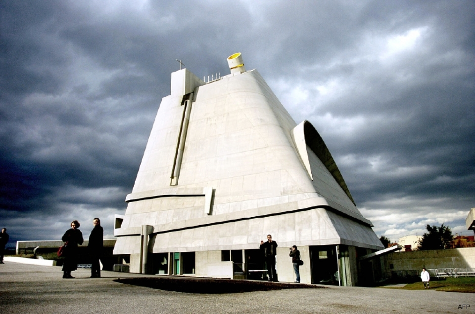 Classically modernist, Saint-Pierre church, designed by Swiss-born architect Le Corbusier, displays both form and function.