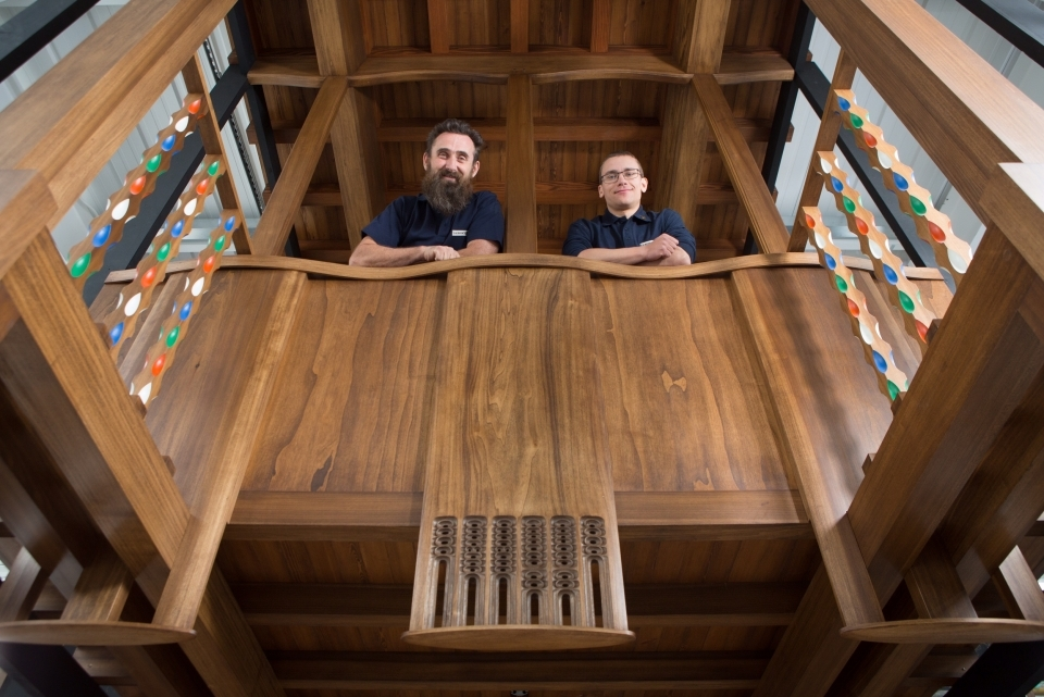 Master craftsmen Angus Johnston and Martins Cirulis of Laurence McIntosh in the Mackintosh Library prototype.