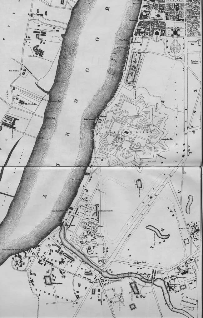 Detail of plan of Calcutta, 1856, showing Fort William and on its north, Government House and the administrative district.