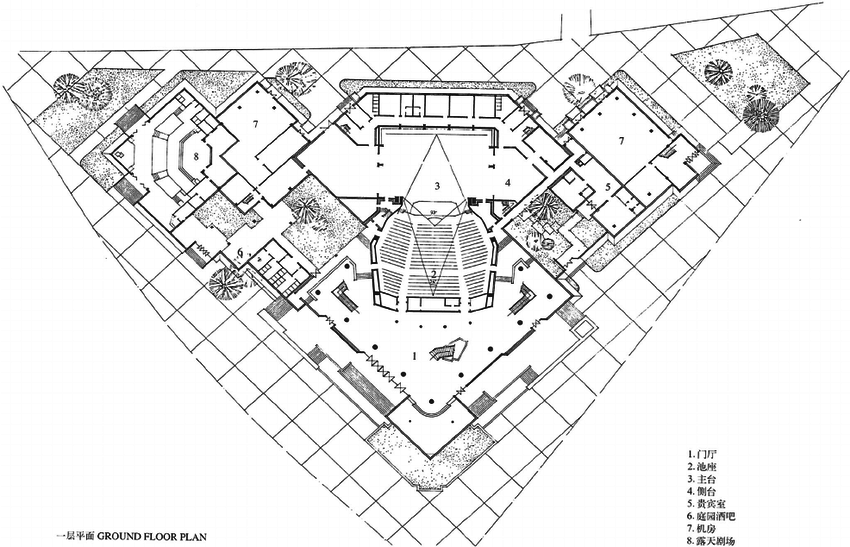 Fig. 7. Cheng Taining/The Hangzhou Institute of Architectural Design, the ground plan of the National Theatre of Ghana, 1992, Accra, Ghana.