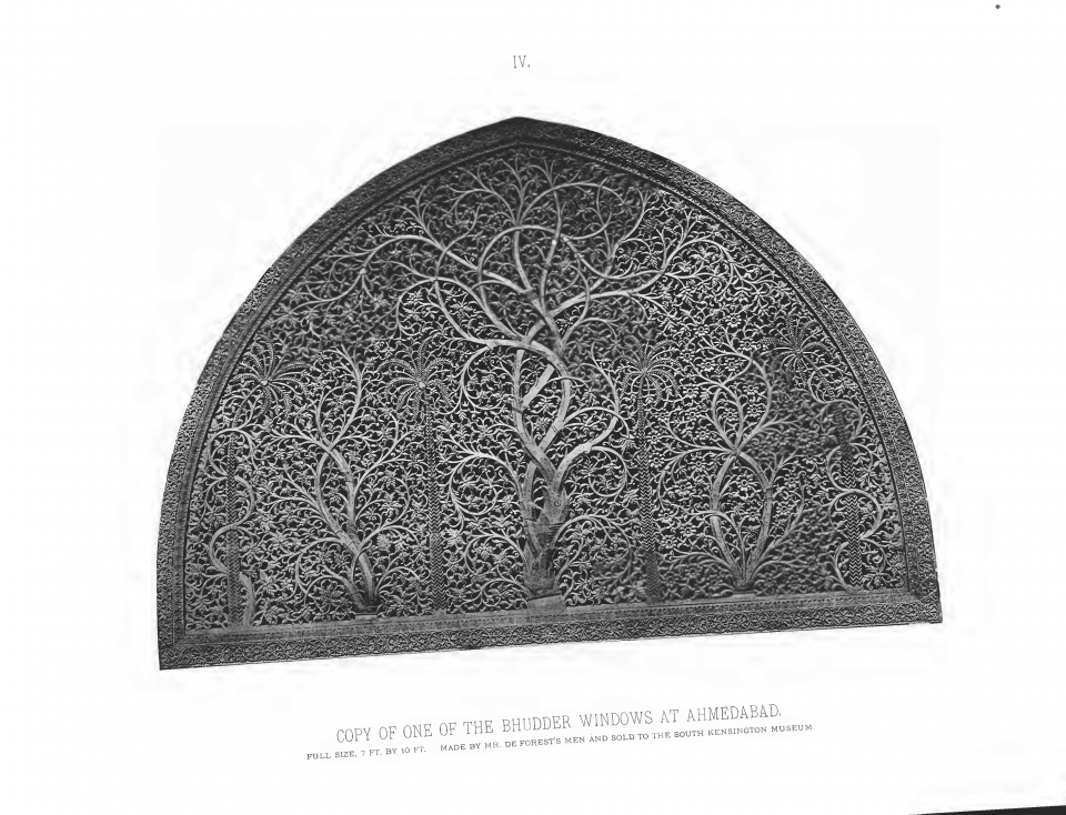 PLATE IV. COPY OF ONE OF THE BHUDDER WINDOWS AT AHMEDABAD, FULL SIZE 7 FT. x 10 FT. MADE BY MR. DE FOREST'S MEN AND SOLD TO THE SOUTH KENSINGTON MUSEUM.