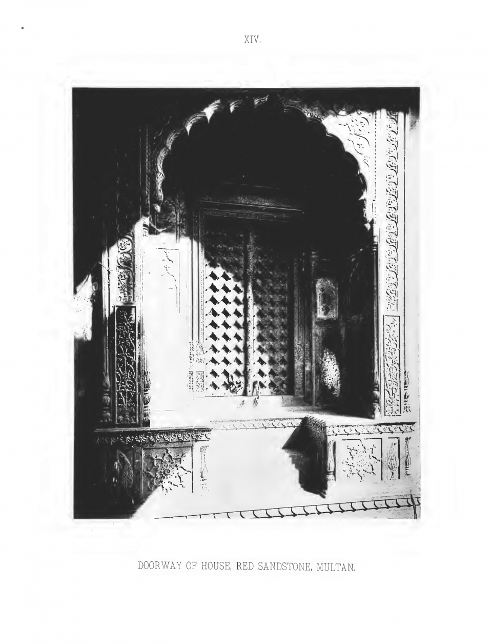 PLATE XIV. DOORWAY OF HOUSE, RED SANDSTONE, MULTAN.