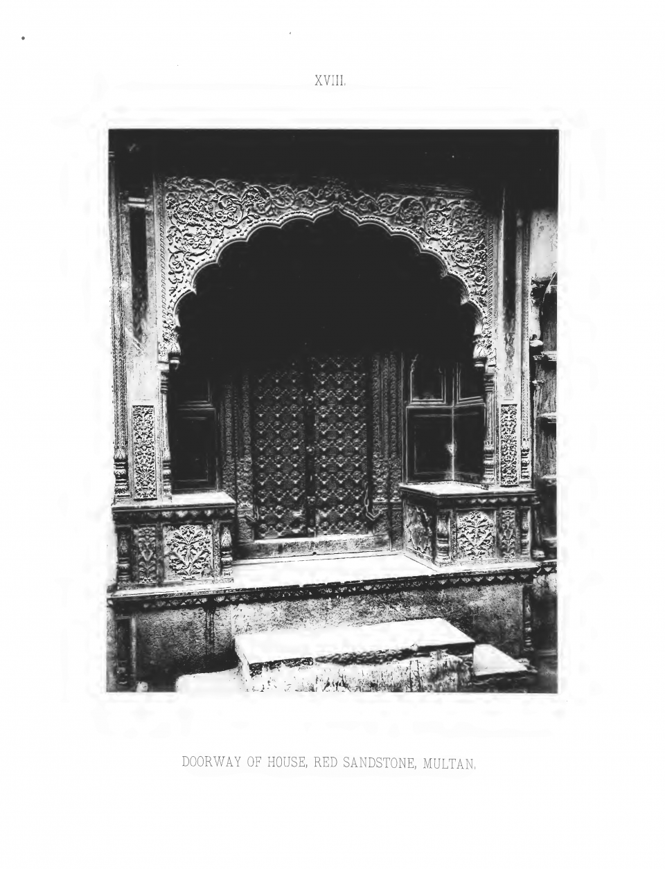 PLATE XVIII. DOORWAY OF HOUSE, RED SANDSTONE, MULTAN.