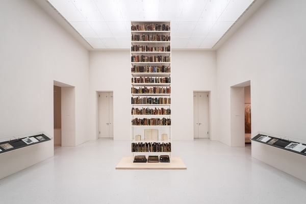 "Maria Eichhorn, ""Unlawfully acquired books from Jewish ownership"" (2017) installation view, Neue Galerie, Kassel, Documenta 14"