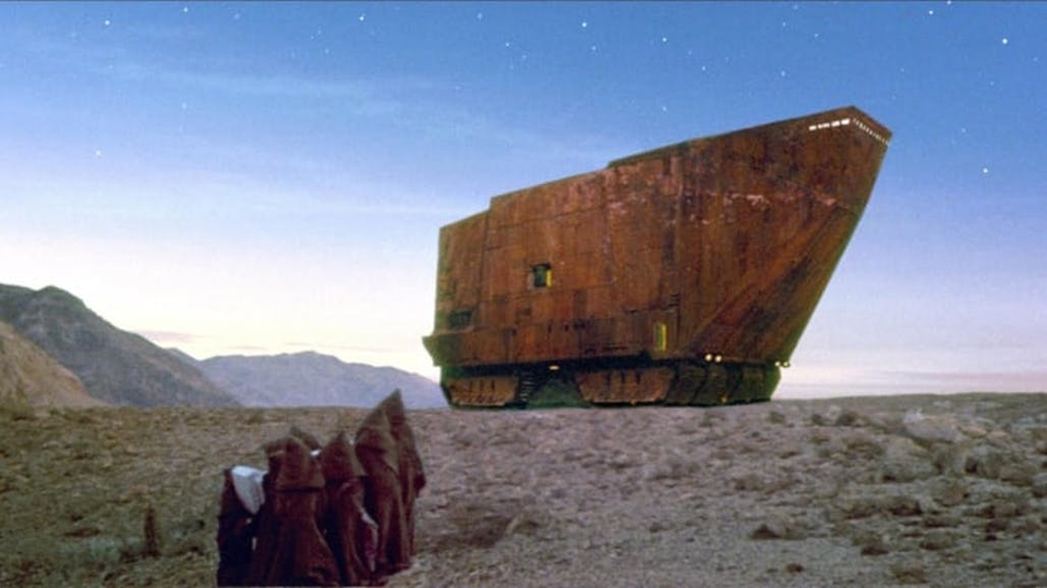 "The Sandcrawler vehicle from ""Star Wars: A New Hope"""