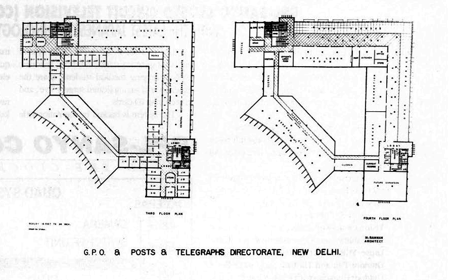 Floor Plans, GPO & POSTS & TELEGRAPH DIRECTORATE, New Delhi