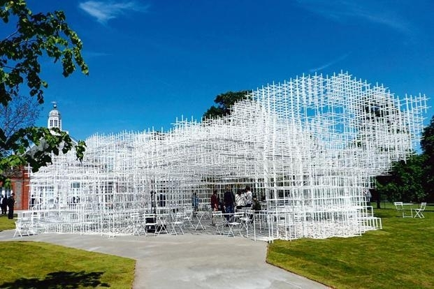 The pavilion designed by Sou Fujimoto in London; and (below) a piece from 'Claymen' by Delhi designer Aman Khanna.