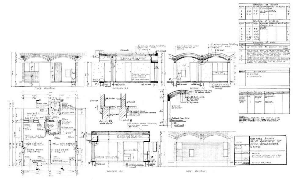 Working Drawing, Staff quarters for ATIRA Ahmedabad. E Type