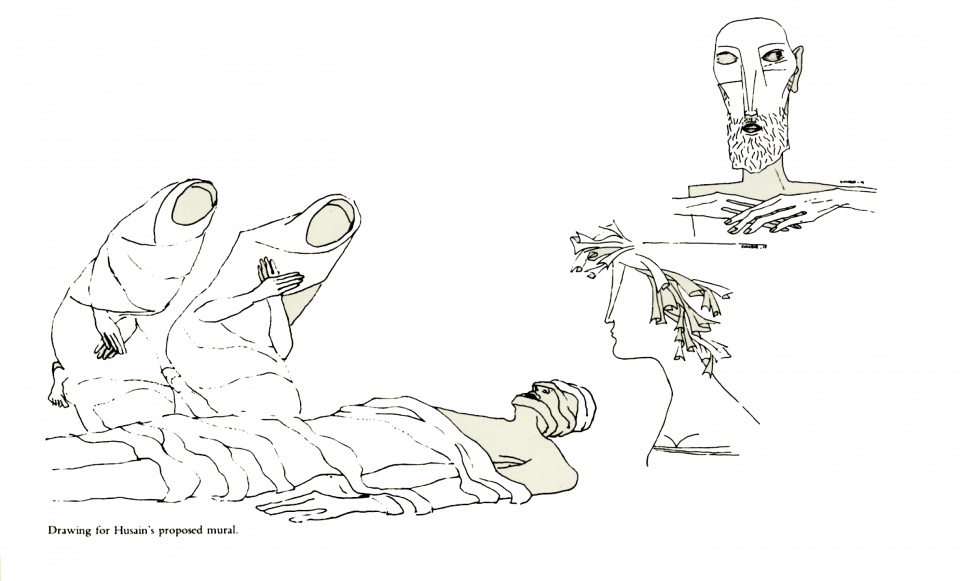 Drawing for M.F. Husain's proposed mural