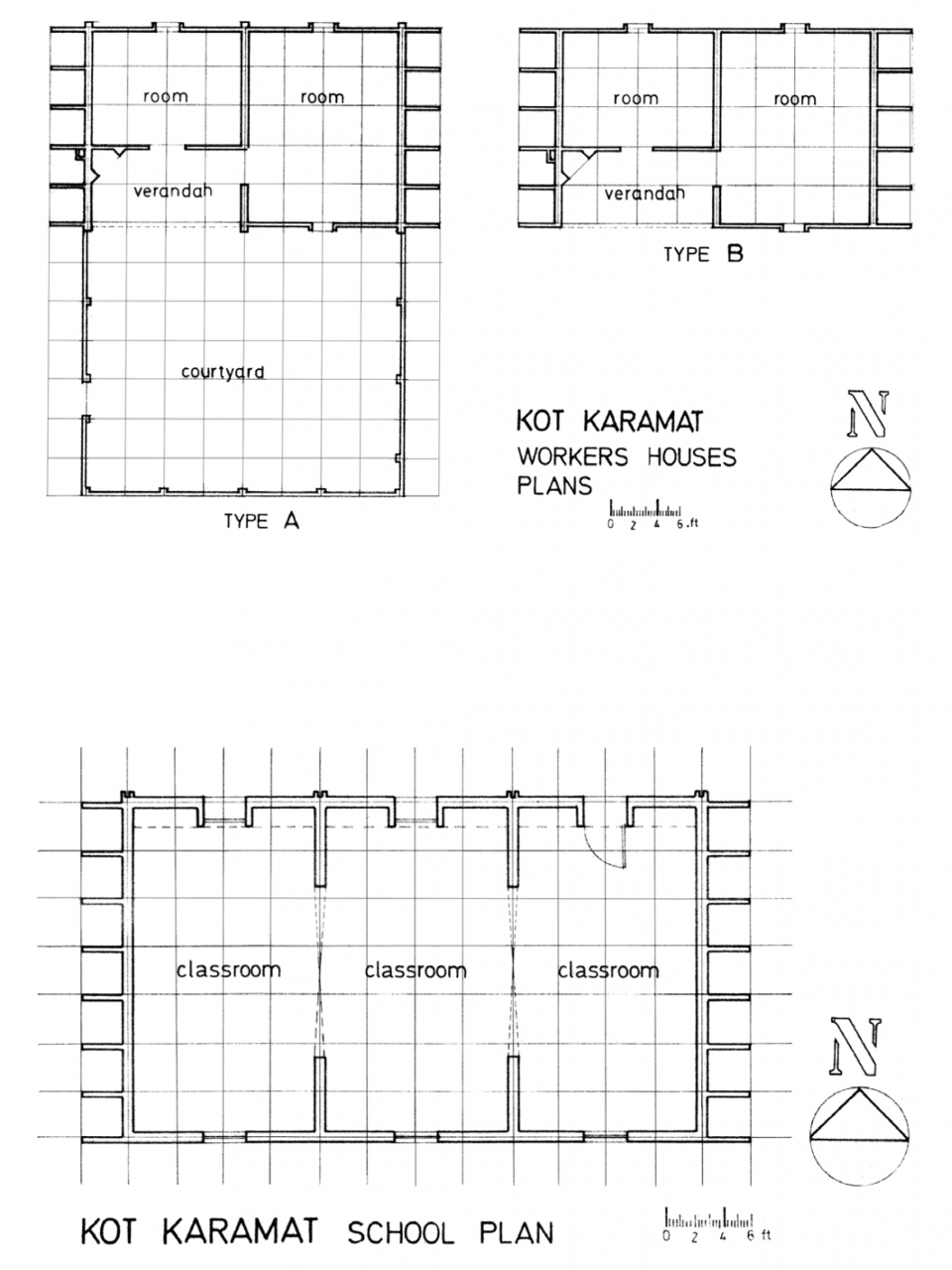 Workers houses (top) and School plans