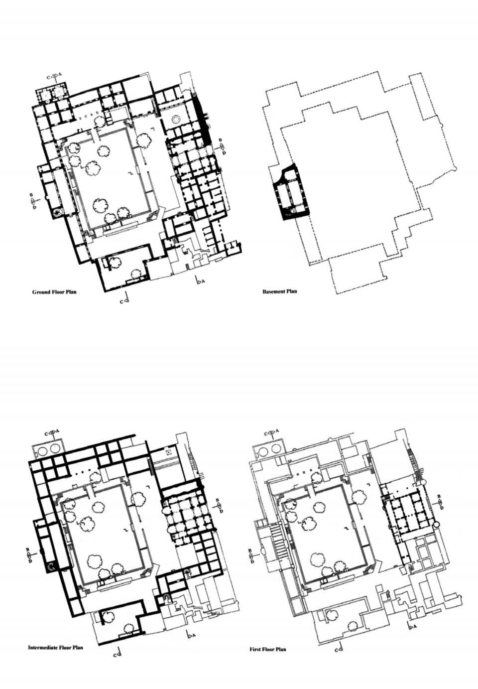 Floor plans: Ground, Basement, 'Intermediate floor' and First Floor