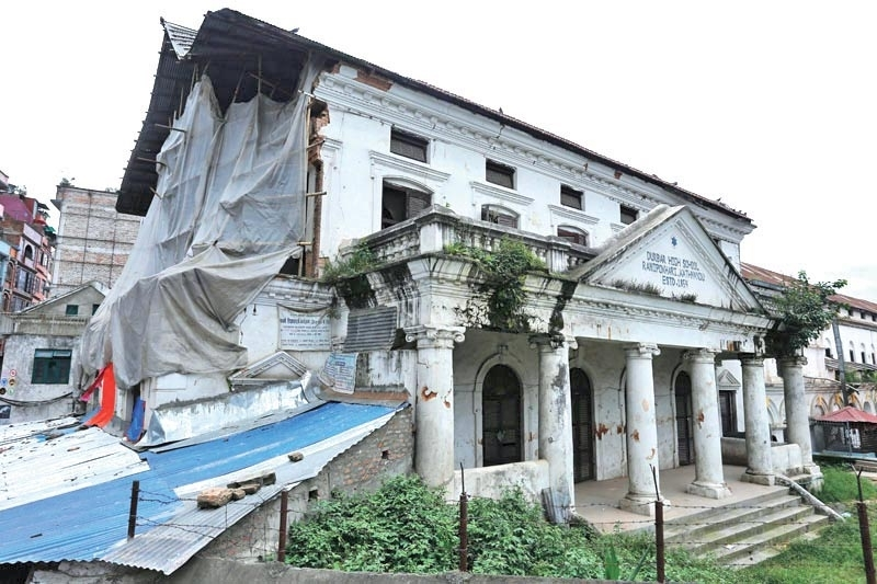 File – A view of quake-damaged Durbar High School in Kathmandu, on August 20, 2016.