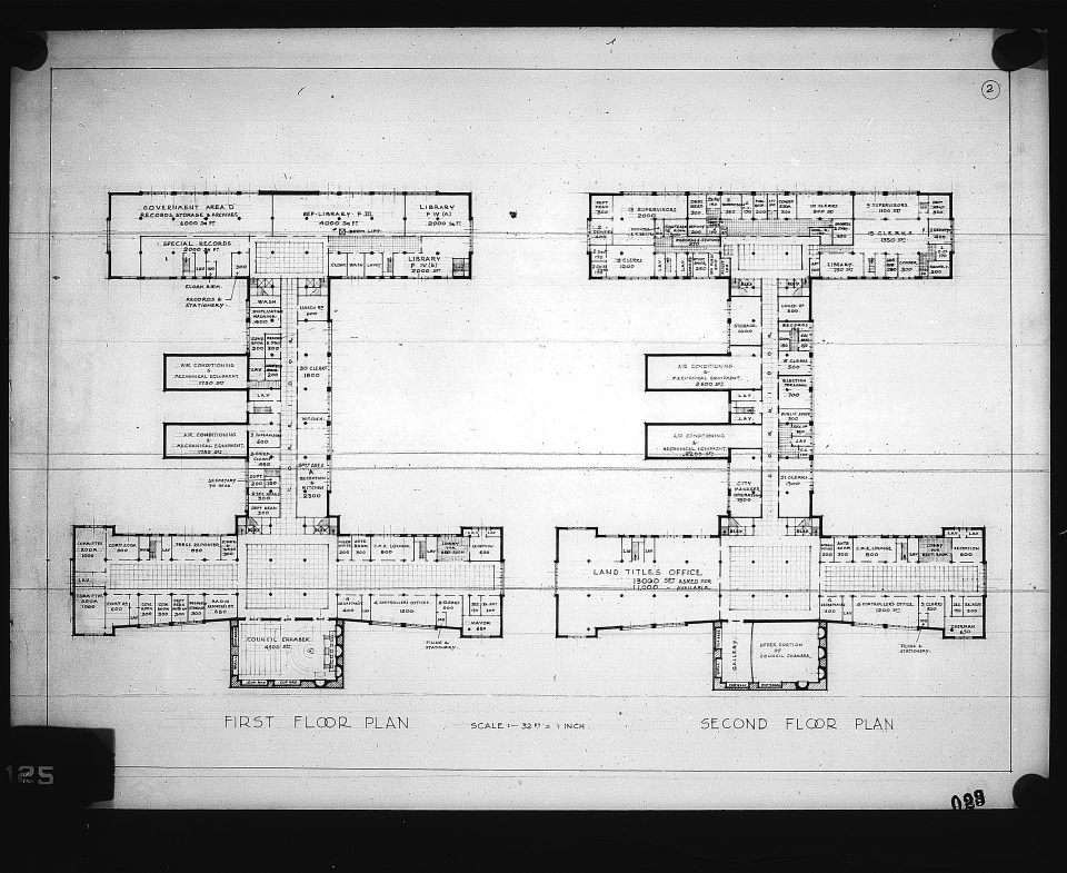 2 architectural drawings on 1 sheet, Competition entry 023, City Hall and Square Competition, Toronto, 1958, by V. H. Karandikar of India. First and Second Floor plans