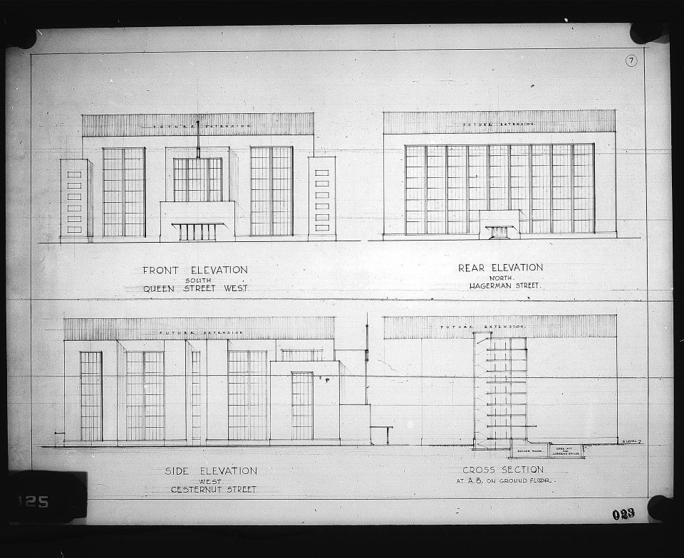 4 architectural drawings on 1 sheet, Competition entry 023, City Hall and Square Competition, Toronto, 1958, by V. H. Karandikar of India. Front, Rear and Side elevations and cross section