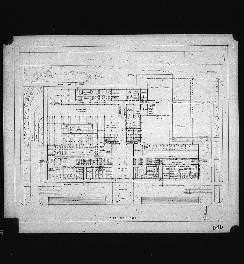 Architectural drawing,  Competition entry 040, City Hall and Square Competition, Toronto, 1958, P. M. Thacker of India: Ground Floor Plan