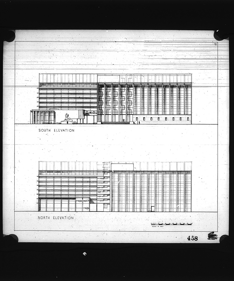 2 architectural drawings on one sheet, Competition entry 458, City Hall and Square Competition, Toronto, 1958, by B. D. Kshirsagar of India: Seventh Floor Plan: South Elevation (top) and North Elevation (Bottom)